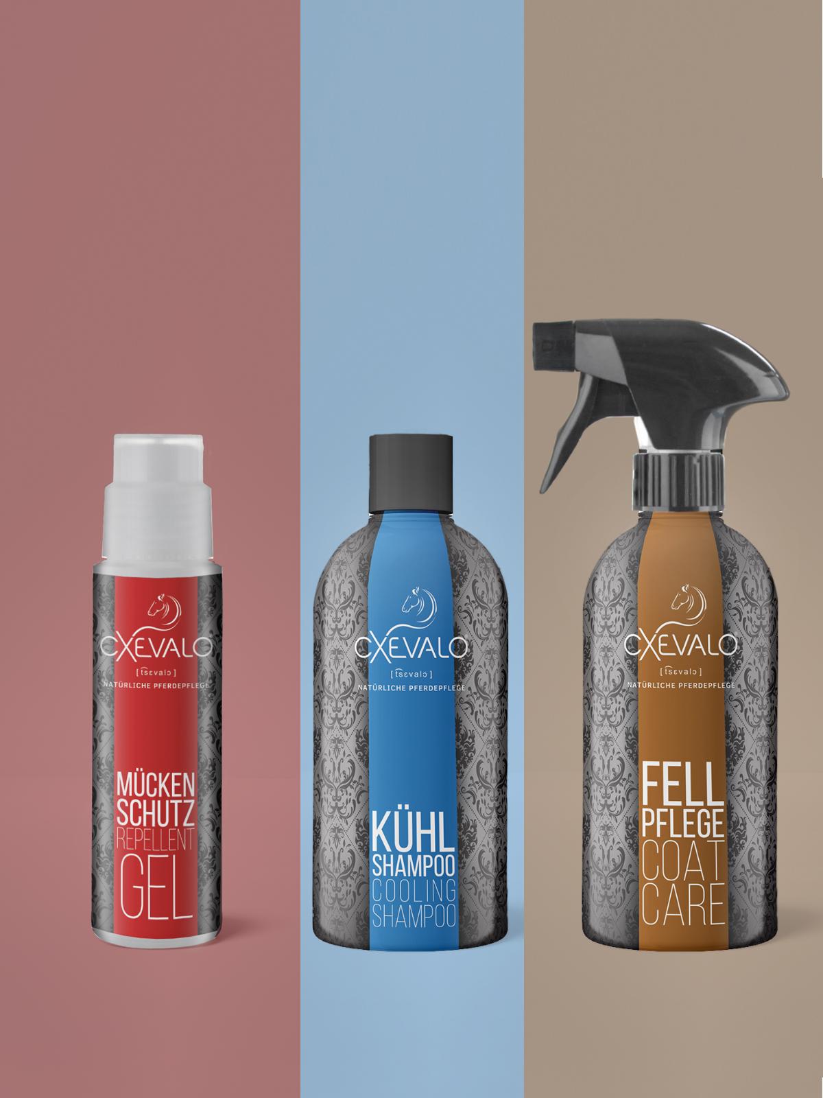 Die CXEVALO Ekzemer-Pflegekombi light bestehend aus Mückenschutzgel, Kühlshampoo und Fellpflege